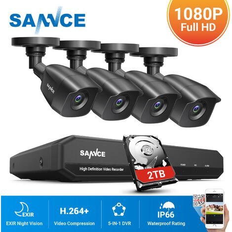 SANNCE 1080P Home Video Security System with 1080N DVR with 4 Cameras StyleB