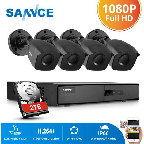 SANNCE 1080P Home Video Security System with 4 Channel 1080N DVR with 4 Cameras Style B