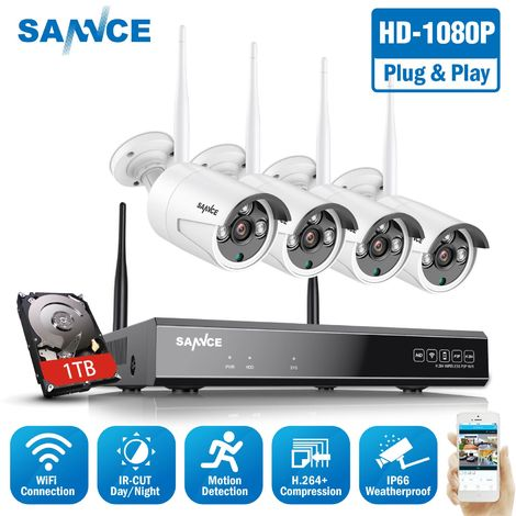 """main image of """"SANNCE 1080P Wireless WiFi Security Camera System with 4 WIFI Cameras"""""""