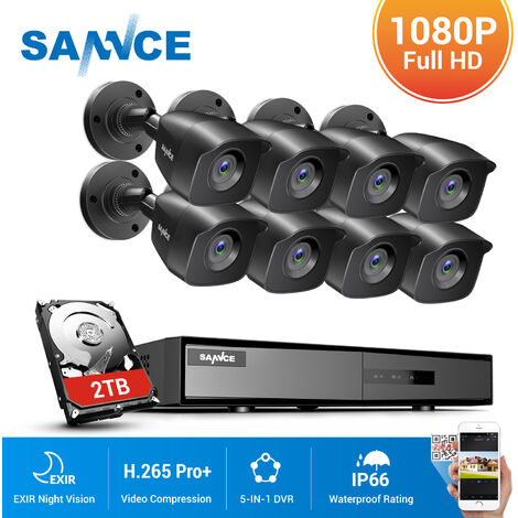SANNCE 16CH 1080N 1080P HD Security System With 8 bullet Cameras - 2TB Hard Drive Disk