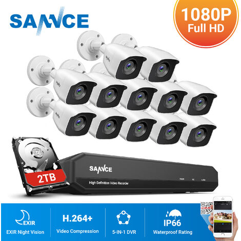 SANNCE 16CH 1080N 720P HD Security System With 12 Cameras
