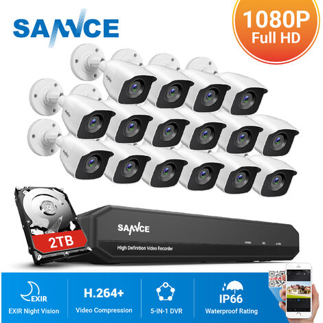 SANNCE 16CH 1080N 720P HD Security System With 16 Cameras
