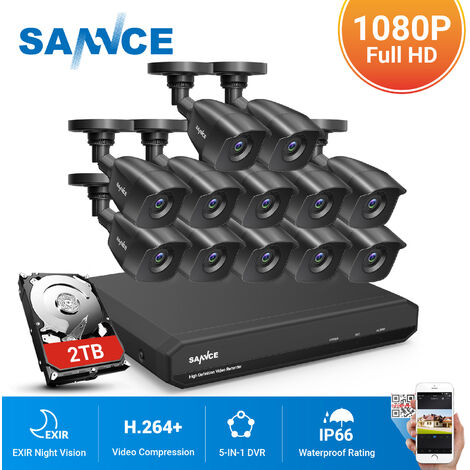 SANNCE 16CH 1080P CCTV Security Camera System with 5-in-1 1080P DVR and 12*1080P HD Security Cameras