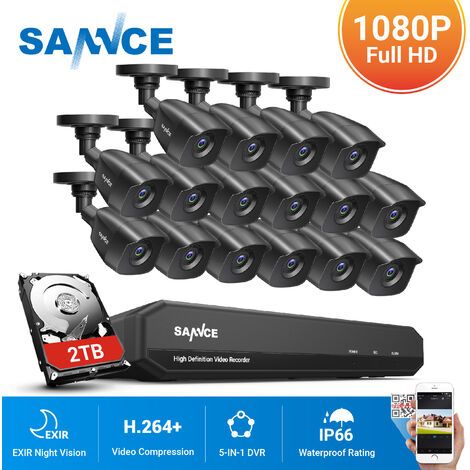 SANNCE 16CH 1080P CCTV Security Camera System with 5-in-1 1080P DVR and 16*1080P HD Security Cameras