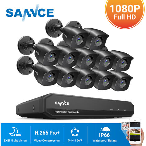 SANNCE 16CH 1080p Security Camera System 5 in 1 CCTV DVR Recorder Waterproof Wired Video Surveillance Kits 12 Cameras