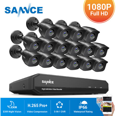 """main image of """"SANNCE 16CH 1080P CCTV Security Camera System with 5-in-1 1080P  DVR and 16*1080P HD Security Cameras"""""""