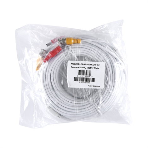 SANNCE 30m / 100ft BNC Video Power cable for HD CCTV camera DVR security system special design – white