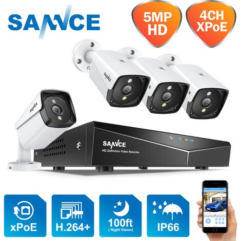 SANNCE 4-Channel 1080P XPoE Network Video Security System (NVR Kit) with 4*1080P cameras