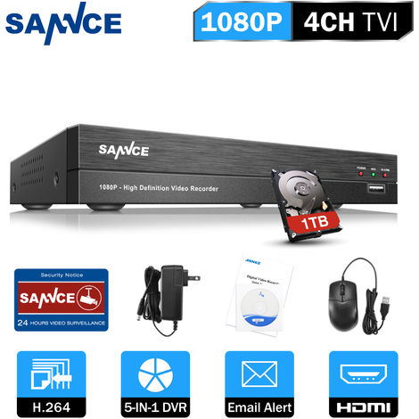 SANNCE 4-Channel CCTV Security Camera System with DVR 5 in 1