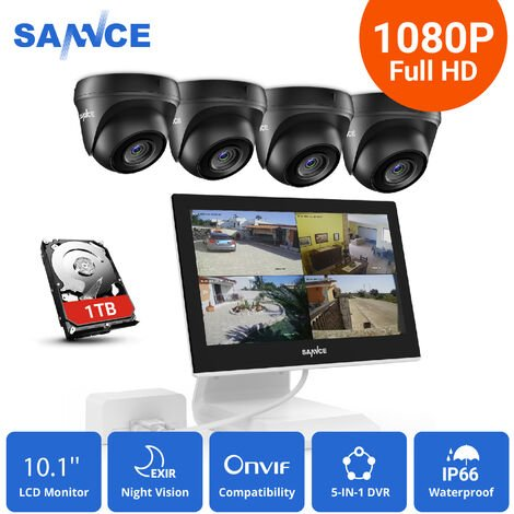 SANNCE 4 Channel DVR 1080P Camera CCTV Kits Security Surveillance System Supports ONVIF IP66 Outdoor Waterproof Remote Access Motion Detection 4 Cameras