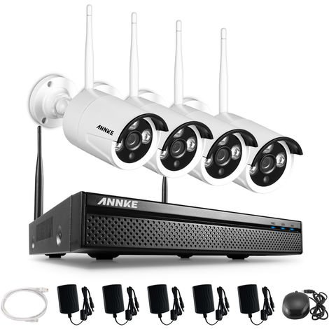 SANNCE 4-Channel FHD 1080P Security Camera System DVR with 4 Weatherproof Dome Cameras with IR Night Vision LEDs Remote Access