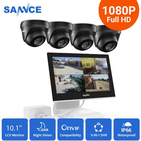 SANNCE 4 Channel Supports ONVIF LCD Monitor DVR CCTV Kits With 1080P Cameras Wired Security Surveillance System For Home Outdoor 4 Cameras