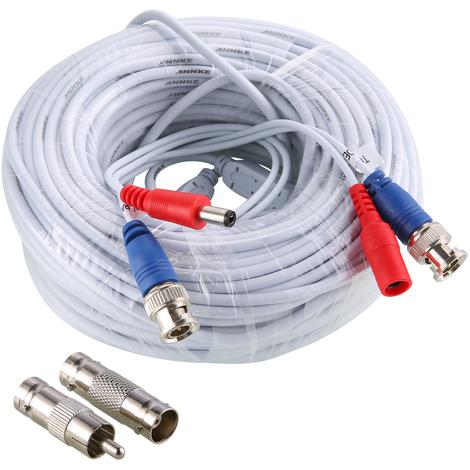 SANNCE 4 Pack 100 pies Video Cables de alimentación pre-made All-in-One cámara de seguridad Extension Cables para CCTV DVR Home sistema de vigilancia Blanco