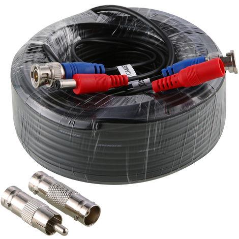 SANNCE 4 Pack 100 pies Video Cables de alimentación pre-made All-in-One cámara de seguridad Extension Cables para CCTV DVR Home sistema de vigilancia Negro
