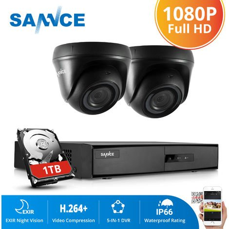 SANNCE 4CH 1080N HD CCTV System 2pcs 720P Outdoor IR Security Camera 4 Channels video Surveillance DVR kits