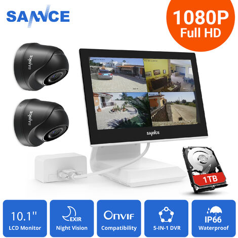 """main image of """"Sannce 4CH 720P CCTV DVR Recorder with 2 PCS Day Night Weatherproof Security Cameras System Hybrid Video Recorder"""""""