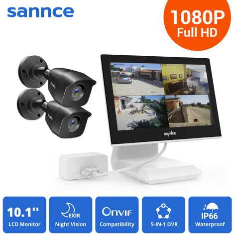 SANNCE 4CH 1080P HD Security DVR Recorder, 2Pcs 1080P Weatherproof CCTV Cameras System With 10.1-inch LCD Screen Monitor