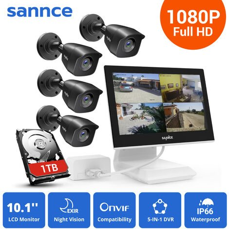 """main image of """"SANNCE 720P Home Video Security System with 1080N DVR with 4 Cameras Style C"""""""