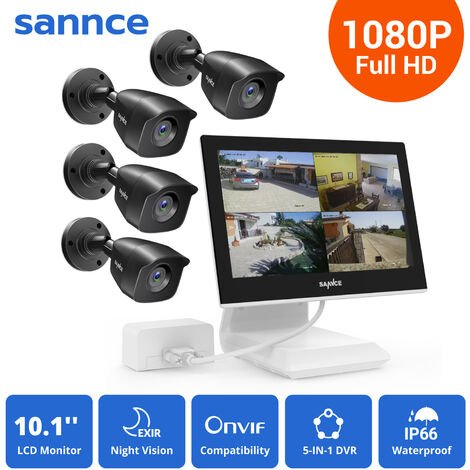 SANNCE 4CH 1080P HD Security DVR Recorder, 4Pcs 1080P Weatherproof CCTV Cameras System With 10.1-inch LCD Screen Monitor