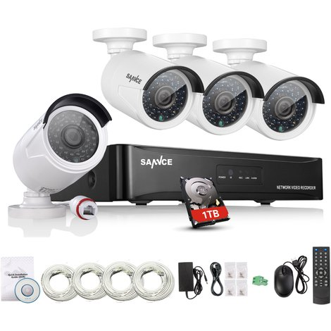 Sannce 4CH 1080P PoE NVR HD Surveillance Kit 4 1080P 2.0 Megapixels Indoor/ Outdoor Night Vision Security Camera System