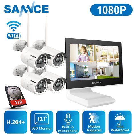 SANNCE 4CH 1080P Wireless Video Security System With 10.1 Inch NVR Recorder + 4PCS IP Weather Protection Cameras, Built-in Microphone, Night Vision Up to 30 Meters For Indoor and Outdoor Use - 1TB Hard Drive