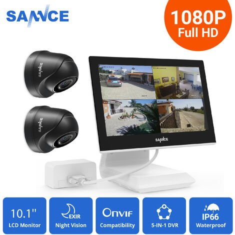 Sannce 4CH 720P CCTV DVR Recorder with 2 PCS Day Night Weatherproof Security Cameras System Hybrid Video Recorder