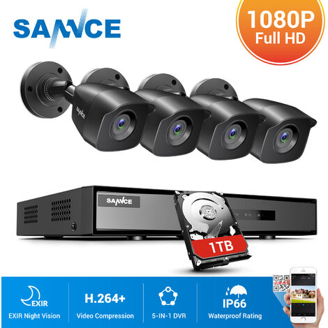 SANNCE 4CH 960H HD DVR 4pcs 1080P IR outdoor CCTV Home Security System Cameras Surveillance Video kits with motion detection