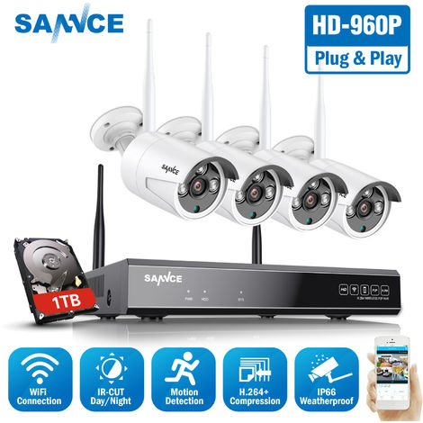 SANNCE 4CH 960P HD NVR Wireless Security System DVR H.264 Video Compression With 4X Bullet Camera