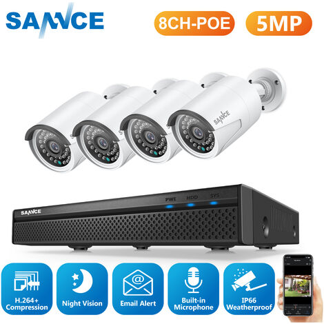 """main image of """"SANNCE 5MP FHD PoE Network Video Security System, 8CH 5MP Surveillance NVR with H.264+ Video Compression, 4*5MP HD Weatherproof Cameras"""""""