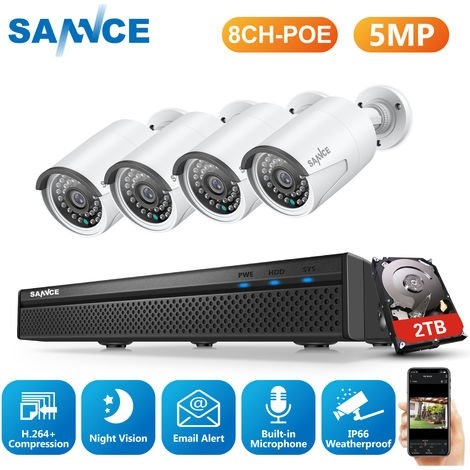 SANNCE 5MP FHD PoE Network Video Security System, 8CH 5MP Surveillance NVR with H.264+ Video Compression, 6*5MP HD Weatherproof Cameras