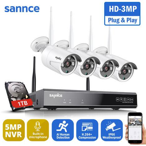 """main image of """"SANNCE 5MP HD Système de caméra de sécurité NVR sans fil avec caméras WiFi 3MP Stream Accès à distance et alertes de mouvement Micro intégré AI Détection humaine 4 caméras"""""""