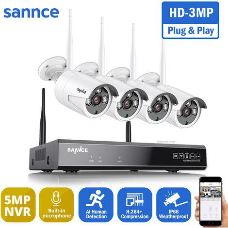 SANNCE 5MP HD Système de caméra de sécurité NVR sans fil avec caméras WiFi 3MP Stream Accès à distance et alertes de mouvement Micro intégré AI Détection humaine 4 caméras