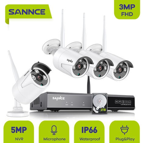SANNCE 5MP HD Système de caméra de sécurité NVR sans fil avec caméras WiFi 3MP Stream Accès à distance et alertes de mouvement Micro intégré AI Détection humaine 6 caméras