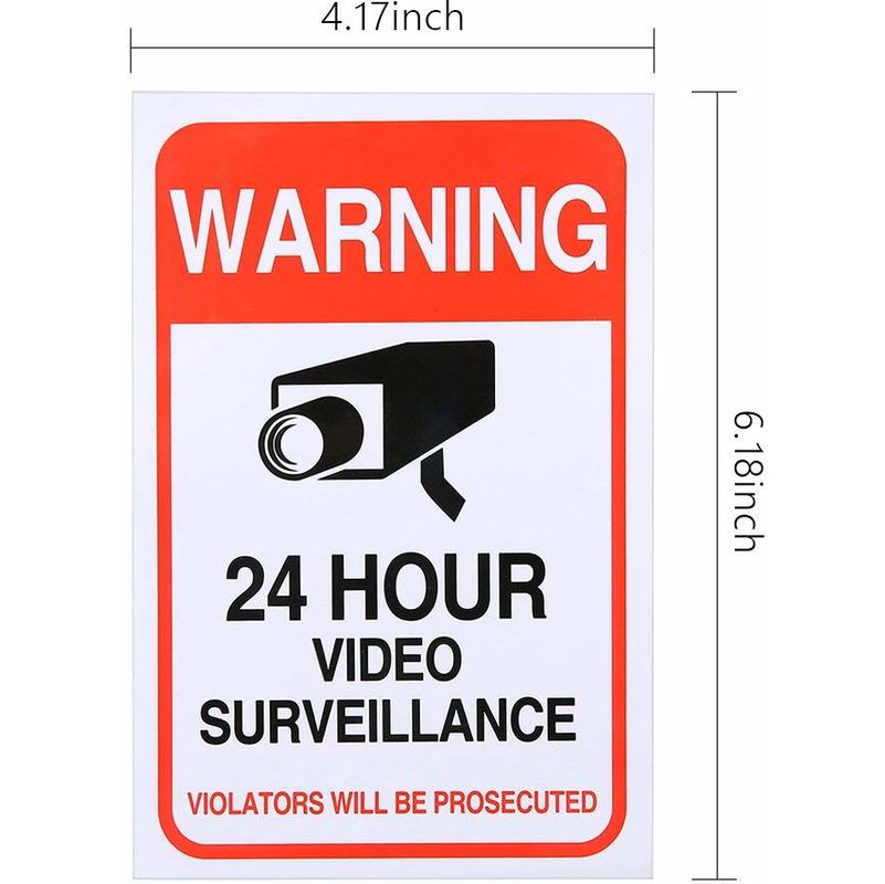6x Home or Business Security Stickers Label Decal Window Door Video Surveillance