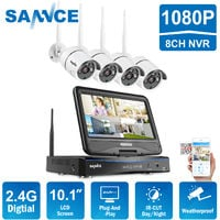 "SANNCE 720P 4CH HD Wireless NVR CCTV Camera System Build-in 10.1"" LCD Monitor with 4 1280TVL 1.0MP Weatherproof Surveillance IP Camera, Remote Access"