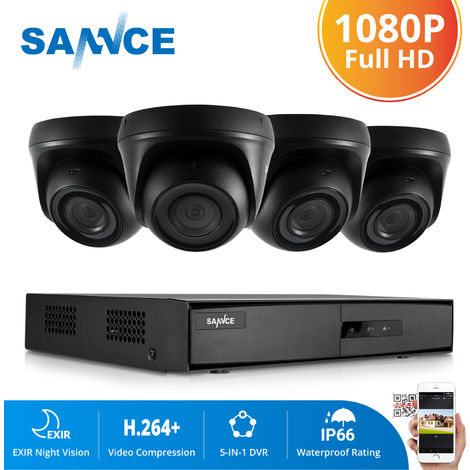 SANNCE 720P Home Video Security System with 1080N 4 Channel DVR with 4 Cameras Style A - 0TB HDD