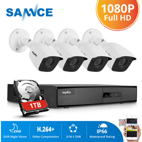 SANNCE 720P Home Video Security System with 1080N 4 Channel DVR with 4 Cameras Style C