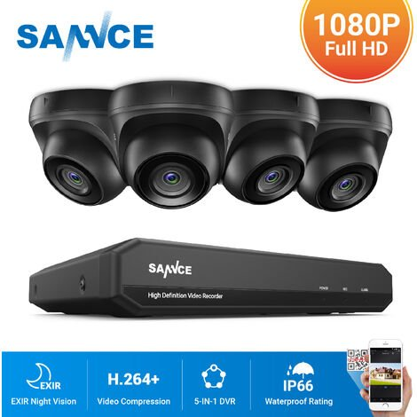 SANNCE 720P Home Video Security System with 1080N DVR with 4 Cameras Style A