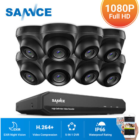 SANNCE 720P Home Video Security System with 1080N DVR with 8 Cameras Style A - 0TB HDD