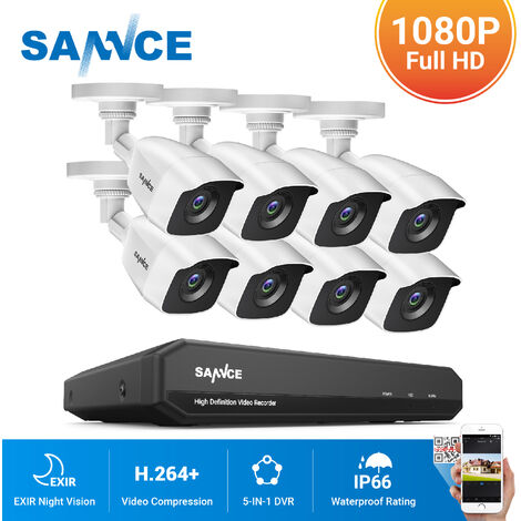 SANNCE 720P Home Video Security System with 1080N DVR with 8 Cameras Style C - 0TB HDD