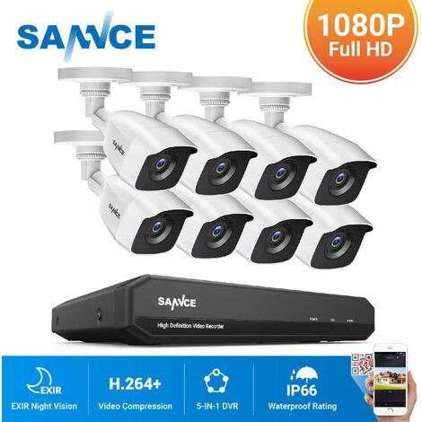 SANNCE 720P Home Video Security System with 1080N DVR with 8 Cameras Style C