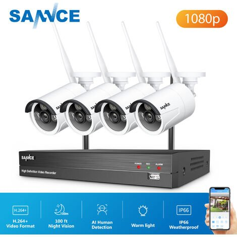 SANNCE 8 Channel WiFi IP Security Camera System with 4 pcs 1080p Outdoor Wireless CCTV Surveillance Cameras AI Human Detection without harddisk