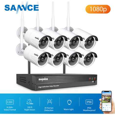 SANNCE 8 Channel WiFi IP Security Camera System with 8 pcs 1080p Outdoor Wireless CCTV Surveillance Cameras AI Human Detection without harddisk