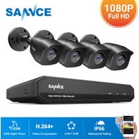 SANNCE 8CH 1080N 720P HD Security System With 4 Weatherproof Night Vision Bullet Cameras
