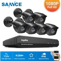 SANNCE 8CH 1080N 720P HD Security System With 6 Weatherproof Night Vision Bullet Cameras