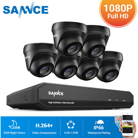 SANNCE 8CH 1080N 720P HD Security System With 6 Weatherproof Night Vision Dome Cameras