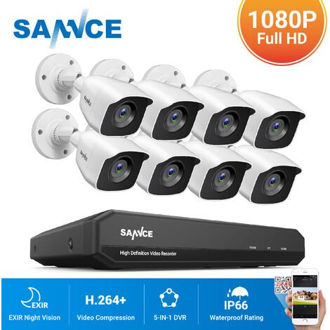 SANNCE 8CH 1080N 720P HD Security System With 8 Weatherproof Night Vision White Bullet Cameras