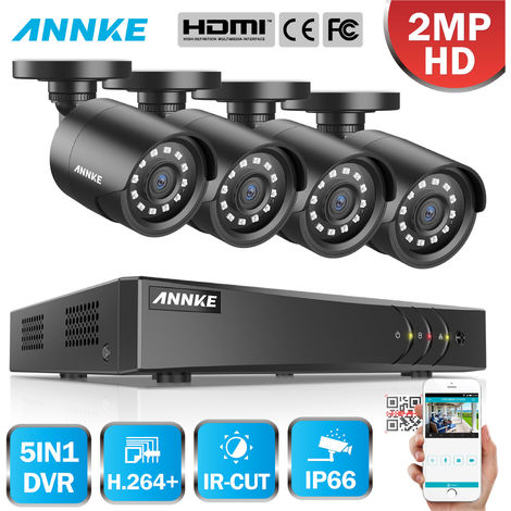 SANNCE 8CH 1080N 720P HD TVI Self-Adaptive 4-In-1 DVR With 4 Bullet Cameras C11BV & 2 Dome Cameras C11BG