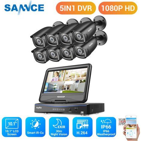 SANNCE 8CH 1080P HD Security DVR Recorder, 8Pcs 1080P Weatherproof CCTV Cameras System With 10.1-inch LCD Screen Monitor