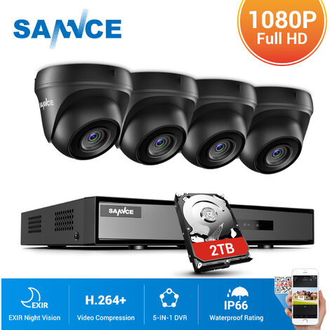 SANNCE 8CH 1080p Security Camera System 5 in 1 CCTV DVR Recorder Waterproof Wired Video Surveillance Kits 4 Cameras